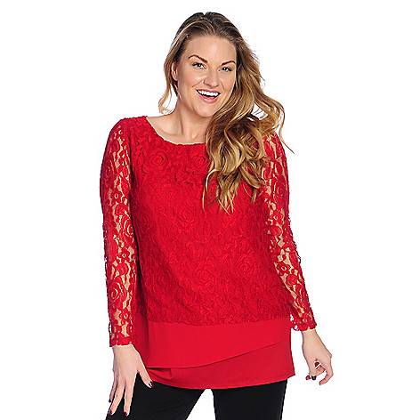 Hot Paula Deen Mixed Media Long Sleeve Tiered Front Top for sale