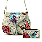 1f5768f8cb60 Image of product 730-123 · Anuschka Hand-Painted Leather Tassel Detailed  Flap-over Crossbody Bag