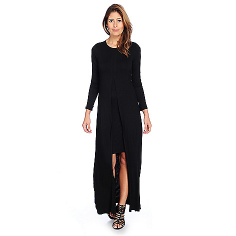 c95c8a8ff9adb0 730-254- Kate   Mallory® Stretch Knit Long Sleeve Scoop Neck Layered Maxi