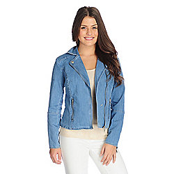 Jackets - 730-511 Kate & Mallory® Denim Long Sleeve Convertible Notched Collar Moto Jacket - 730-511