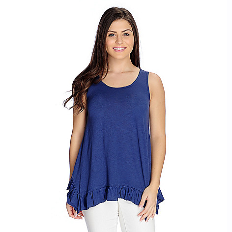 Wholesale OSO Casuals Knit Ruffled 4-Point Hem Tank Top free shipping