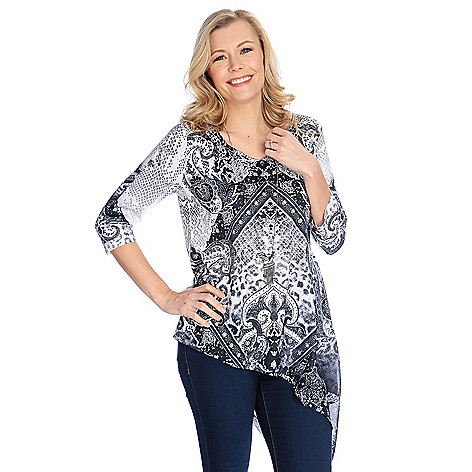 Discount One World Printed Knit & Chiffon 3/4 Sleeve Asymmetrical Top w/ Removable Necklace for cheap