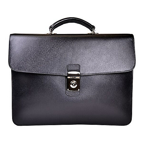 f8845473d5e 731-486- ROYCE New York Leather Gusseted Laptop Storage Top Handle Flap-over