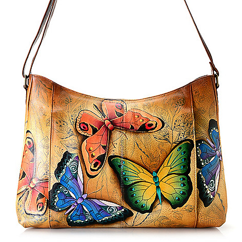 731-542- Anuschka Hand-Painted Leather Zip Top Dual Front Pocket Crossbody  Bag d841d693b0ebd