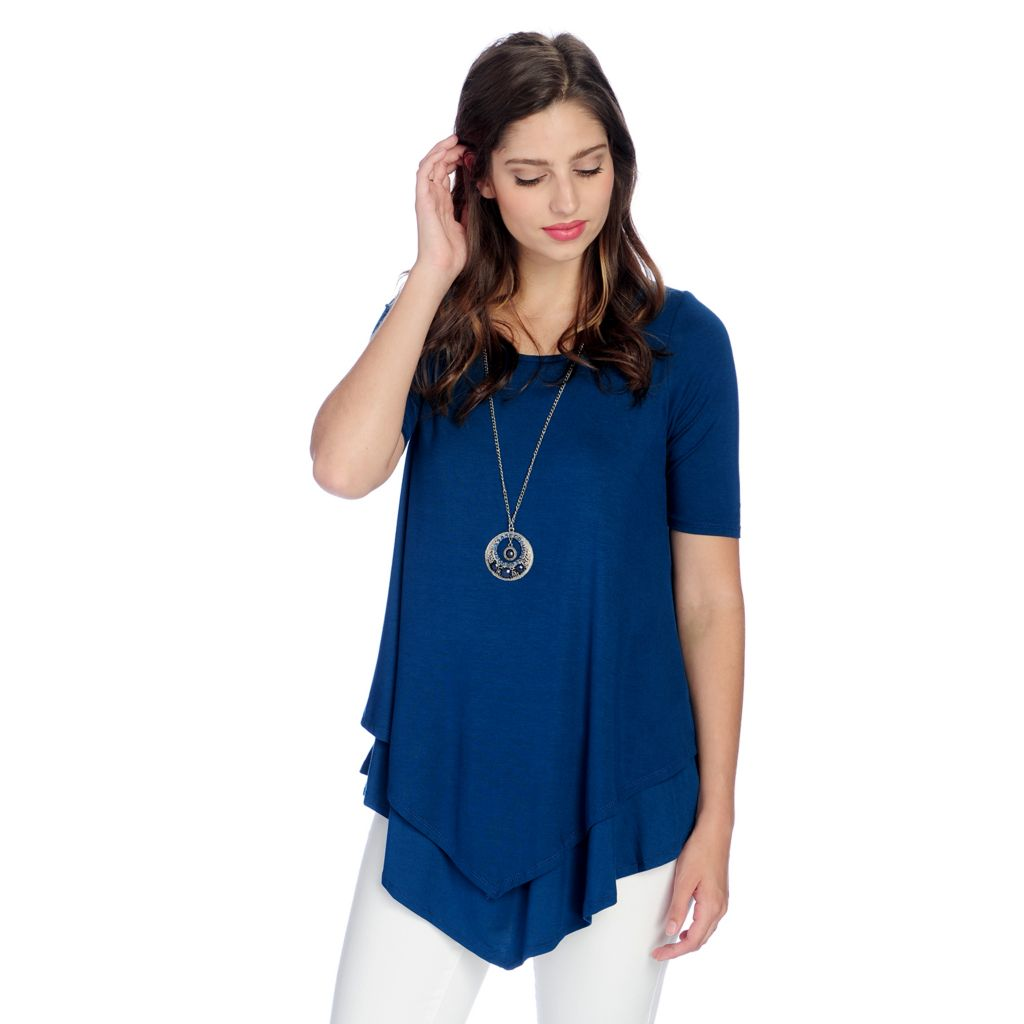 Glitterscape® Stretch Knit Elbow Sleeve Lined Tunic - 731-728