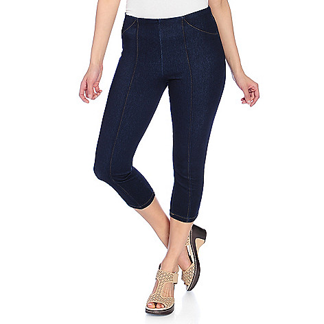 0a827338a09 732-409- One World Stretch Knit Denim Capri Length Pull-on Leggings