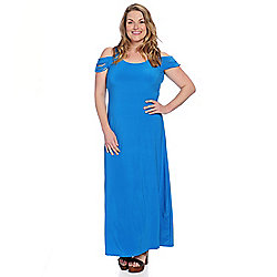 6333cfd6acf Image of product 732-514. QUICKVIEW. Kate   Mallory® Stretch Knit Sleeveless  Multi Layered Cold Shoulder Maxi Dress