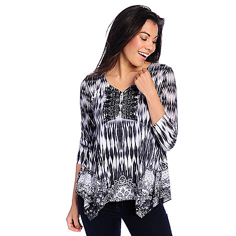 New One World Printed Knit 3/4 Sleeve Embellished Henley Top hot sale