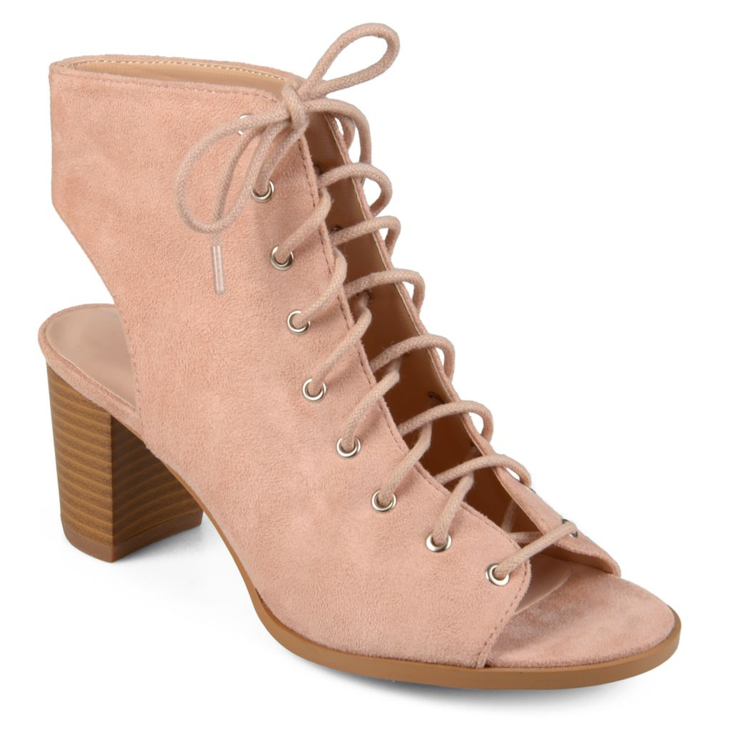 1a22915e Journee Collection Faux Suede Lace-up Stacked Heel Peep Toe Ankle Boots