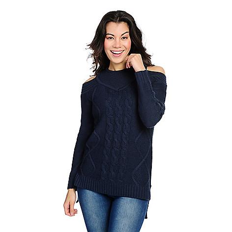 0e6edcfbfea31c 733-373- Kate   Mallory® Mixed Stitch Knit Long Sleeve Cold Shoulder Hi