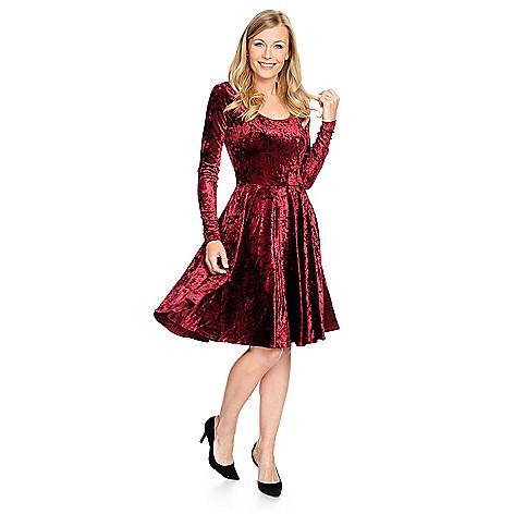 0405144299 733-444- Marc Bouwer Velvet Long Sleeve Knit Lined Fit   Flare Dress