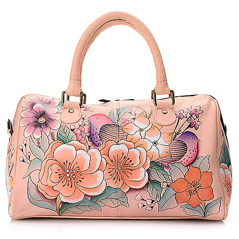 As Is Chka Hand Painted Leather Zip Top Barrel Satchel W Removable Strap Evine