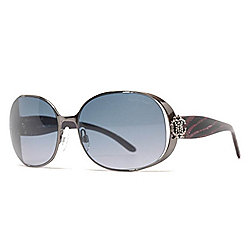 Roberto Cavalli 59mm Gunmetal-tone & Purple Oval Frame Sunglasses w/ Case