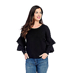 3b4bbcbea9ab8 Image of product 733-661. QUICKVIEW. mōd x Sweater Knit Ruffled Sleeve  Extended Shoulder Scoop Neck Top