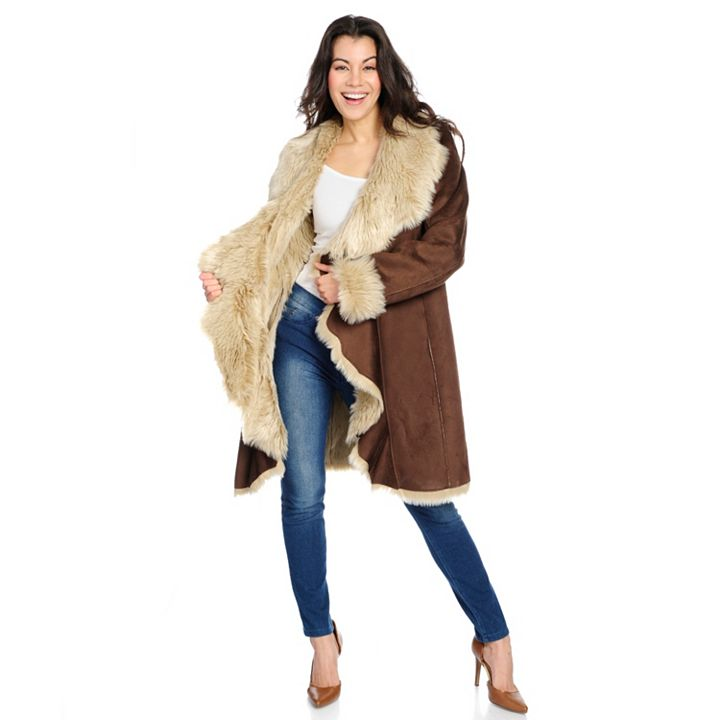 Day Break Deal at ShopHQ - 733-671 Donna Salyers' Fabulous-Furs Faux Suede & Faux Fur Cascade Front Mid-Length Coat