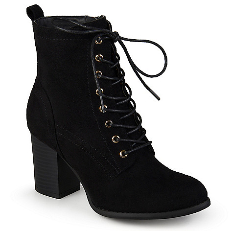 4e495d38e14be 733-778- Journee Collection Faux Suede Stacked Heel Lace-up Ankle Boots