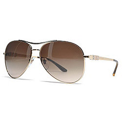 Bvlgari 61mm Gold-tone Gradient Lens Aviator Frame Sunglasses w/ Case