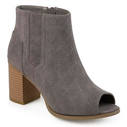 Journee Collection Henley Quilted Open Toe Side Zip Ankle Boots - 734-252