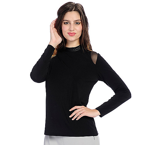 0012dc14363 V. by Vanessa Williams Knit   Mesh Long Sleeve Faux Leather Mock ...