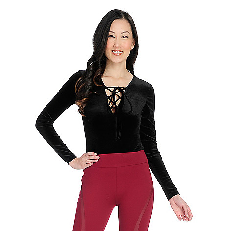 Marc Bouwer Stretch Velvet Long Sleeve Lace-up V-Neck Bodysuit - EVINE 44fe77d9e