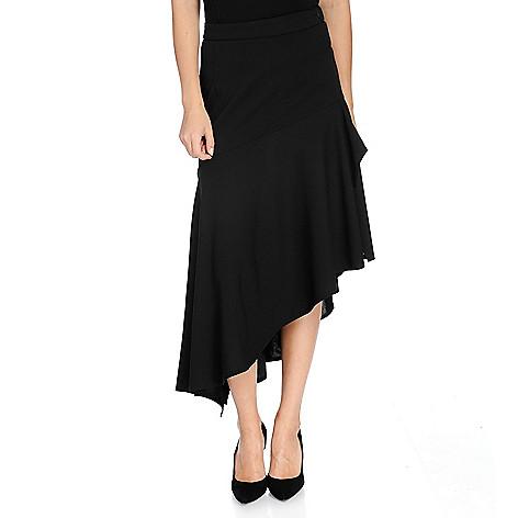91b543ff818c2 734-436- Marc Bouwer Stretch Knit Side Zip Asymmetrical Ruffle Skirt