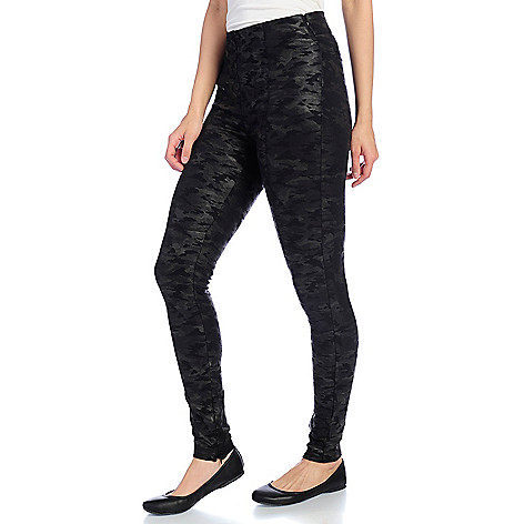 1f676a6b10675 Kate & Mallory® Printed or Coated Ponte Knit Elastic Waist Stitched Detail Ankle  Zip Leggings