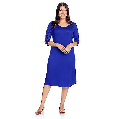 Discount Paula Deen Stretch Knit 3/4 Cut-out Sleeve Scoop Neck Dress hot sale