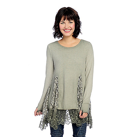 c594584a72 Indigo Thread Co.™ Thermal Knit   Lace Inset Long Sleeve Tunic w ...