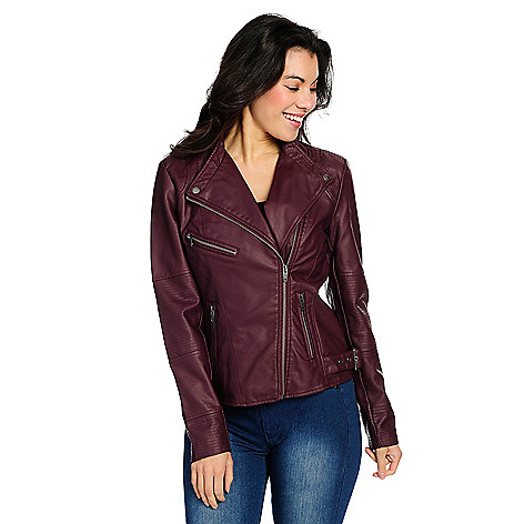 Kate_&_Mallory&reg_Faux_Leather_2Pocket_Quilted_Detail_Zip_Front_Jacket