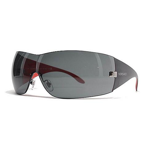 3d9b0634bc 734-603- Versace 41mm Gunmetal-tone Shield Frame Sunglasses