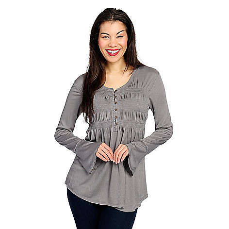 OSO Casuals®: Ribbed Knit Long Bell Sleeve Button Front Shirred Top supplier