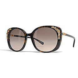 Coach 56mm Faux Tortoiseshell Square Frame Sunglasses w/ Case