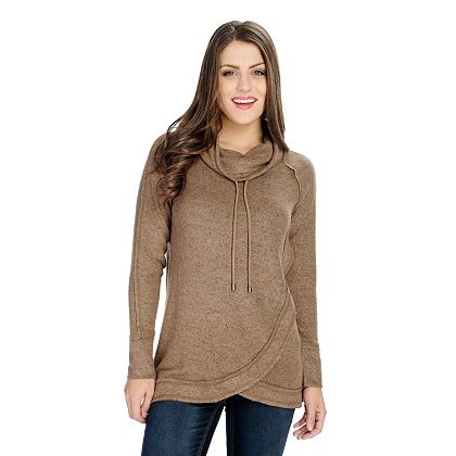 Once Only Shop Our Lowest Prices Ever - 734-764 OSO Casuals® Knit Long Sleeve Tulip Hem Drawstring Cowl Neck Sweater