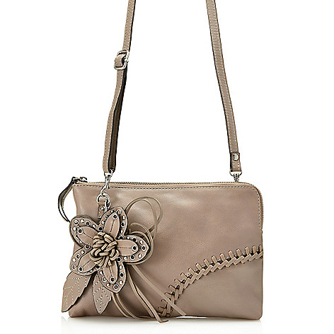 "734-808- Firenze Bella ""Eliza"" Leather Whipstitched & Flower Detailed Clutch w/ Strap"