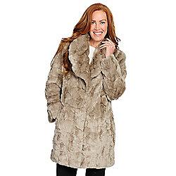 Pamela McCoy Faux Fur Shawl Collar 4-Pocket Swing Coat - 734-820