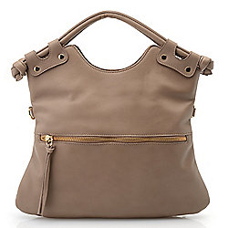Warehouse Sample Sale at Evine - 734-907 'As Is' Pietro NYC Brooklyn Leather Double Handle Satchel w Removable Strap - 734-907