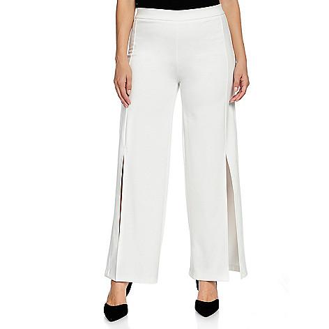 aad5b6e05a0 V. by Vanessa Williams Ponte Knit Elastic Waist Slit Front Wide Leg Pants -  EVINE