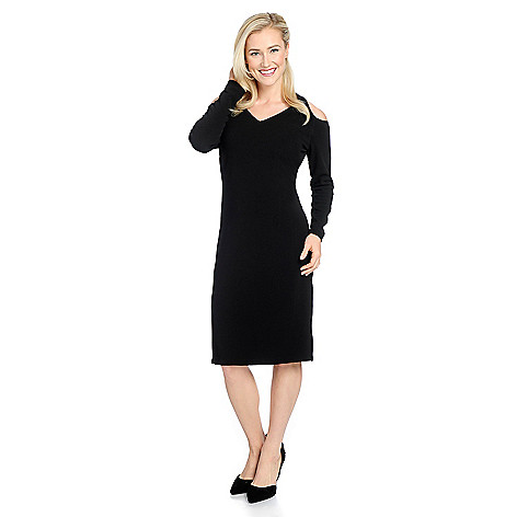 03596be03c 735-177- V. by Vanessa Williams Knit Crepe Long Sleeve Cold Shoulder Sheath