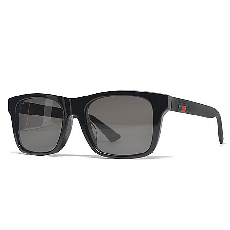 36be7bf8a1d Gucci Men s Black Thick Rectangular Frame Sunglasses w  Case - EVINE