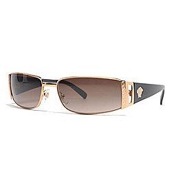 167f4fbedfe6 Versace Gold-tone   Black Rectangular Frame Sunglasses w  Case