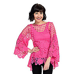 Tops - 735-572 Marc Bouwer Crochet Lace Long Sleeve Sharkbite Top w Removable Knit Tank - 735-572