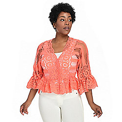 Tops - 735-585 Marc Bouwer Lace Bracelet Sleeve Scalloped Hem Front Zip Peplum Top - 735-585