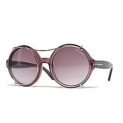 Tom Ford 55mm Bordeaux Circular Frame Sunglasses w/ Case
