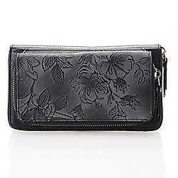Firenze Bella Tooled Leather RFID Blocking Dual Compartment Zip Around Wallet - 735-730
