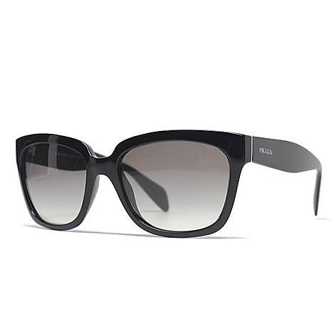 Prada Gradient Lens Black Rectangular Frame Sunglasses w/ Case - EVINE
