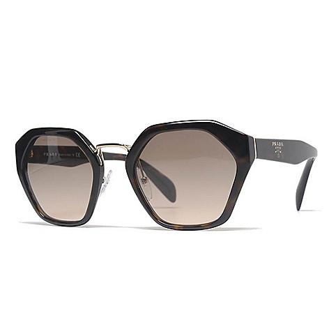 5465d9fabd69 735-799- Prada 55mm Havana Hexagon Frame Sunglasses w  Case