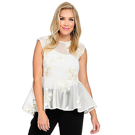 e7ac98f57b7aed 735-854- Marc Bower Embroidered Mesh Sleeveless Zip Back Peplum Top w   Removable