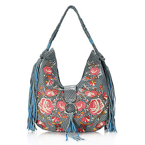 735 896 Sharif Garden Of Nile Printed Suede Fl Embroidered Hobo Handbag