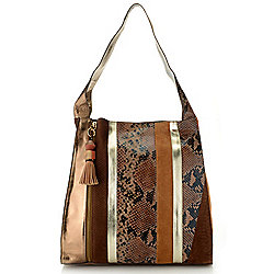 Shoulders & Hobos - 735-946 Sharif Museum Melange Suede & Smooth Leather Collage Hobo Handbag - 735-946