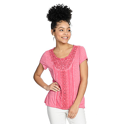 New One World Knit Oil Washed Short Sleeve Crochet Detailed Hi-Lo Top supplier